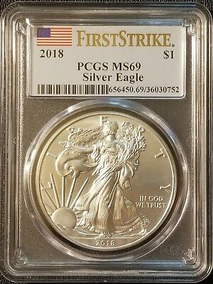 2018 American Silver Eagle 1oz .999 Fine Silver Bullion PCGS MS69 - First Strike