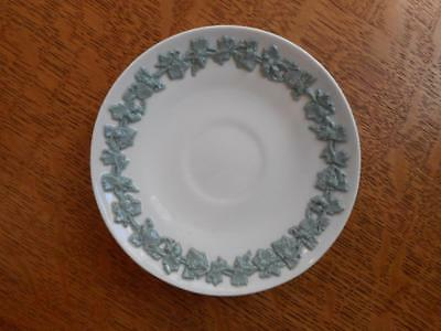 "Wedgwood embossed Queensware smooth edge celadon on cream 4 1/2"" demi saucer"
