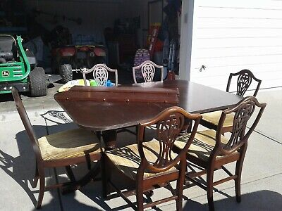 Astonishing Duncan Phyfe Mahogany Dining Table With 3 Leaves 6 Chairs Machost Co Dining Chair Design Ideas Machostcouk