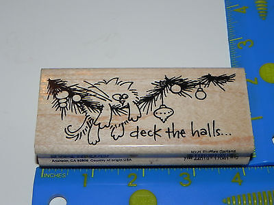 Stampendous Rubber Stamp Fluffles Garland Deck the Halls Ornaments Christmas Cat