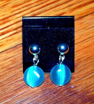 New! Stunning Silver Plated with Beautiful Light Blue Aqua Bead Earrings