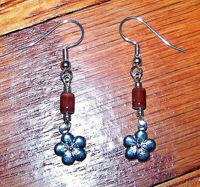 New! Stunning Silver Plated Flower Charm with Brown Bead Dangle Earrings
