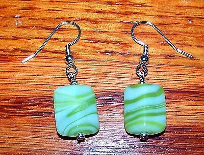New! Stunning Silver Plated Lime Green & White Swirl Bead Earrings