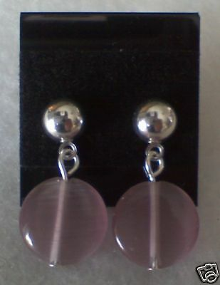 New! Stunning Silver Plated with Beautiful Purple Bead Earrings