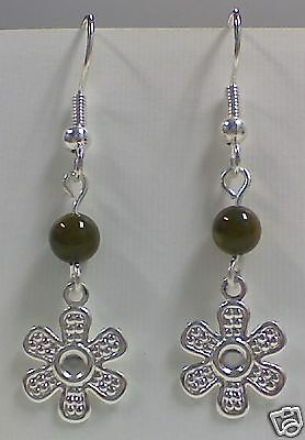 New! Stunning Silver Plated Flower with Green Bead Earrings