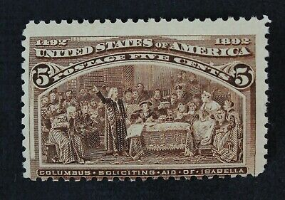 CKStamps: US Stamps Collection Scott#234 5c Columbian Mint NH OG CV$160