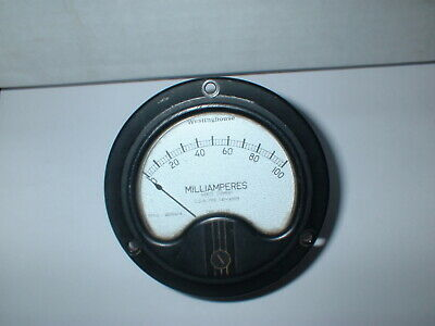 "Westinghouse Cay-22059 0-100 Ma Milliamperes Dc  3 1/2"" Round Panel Meter Box#42"
