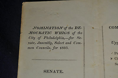 *RARE* 1835 Philadelphia Whig Ballot *AUTHENTIC*