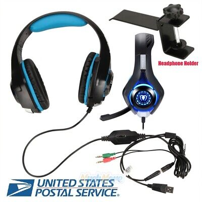 Stereo Bass Surround Gaming Headset Mic + Holder for Laptop PC PS4 Pro Xbox one