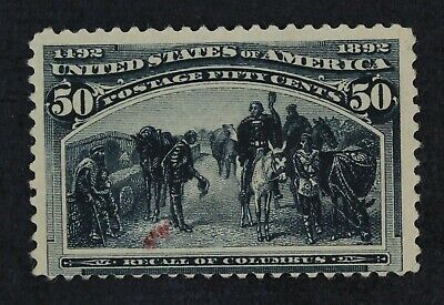 CKStamps: US Stamps Collection Scott#240 50c Columbian Mint? Gum Dist Ink Stain