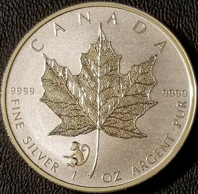 2016 Canada Maple Leaf with Monkey Privy 1oz .9999 Fine Silver - Reverse Proof