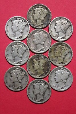 Lot Of 10 Ten Mercury Silver Dimes Exact Coins Shown Flat Rate Shipping OCE848