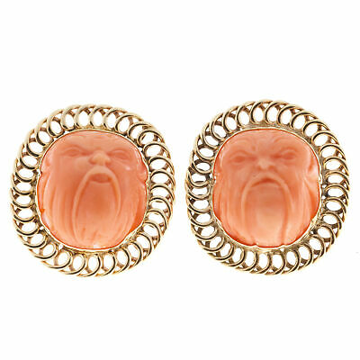 Vintage 1940s Spectacular High Relief Carved Angel Skin Coral 14k Earrings