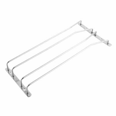 Household Metal 2 Rows Cup Hanging Rack Wine Glass Storge Holder Silver Tone
