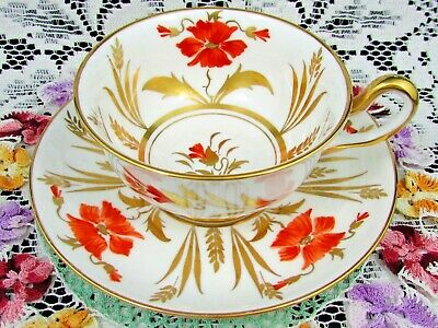 Royal Chelsea Hand Painted Red & Gold Gilt Foliage Tea Cup And Saucer