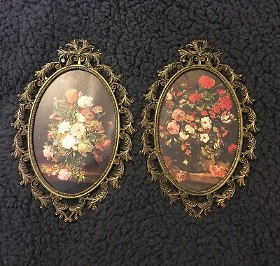 Vtg Small Ornate Oval Brass Picture Frame   Made in ITALY