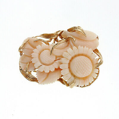 Vintage 1940 Mid Century Natural Light Pink Carved Coral 14k Flower Pin