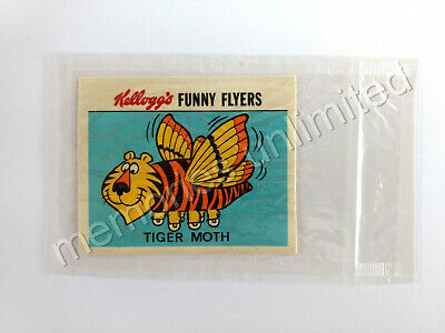 1972 Kellogg's Cereal Prize FUNNY FLYERS STICKER TIGER MOTH NEW IN PACK
