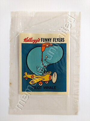 1972 Kellogg's Cereal Prize FUNNY FLYERS STICKER PILOT WHALE NEW IN PACK