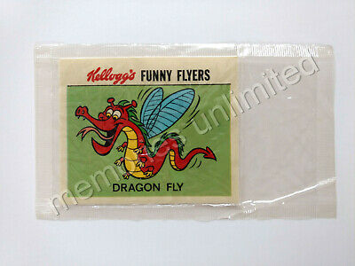 1972 Kellogg's Cereal Prize FUNNY FLYERS STICKER DRAGON FLY NEW IN PACK