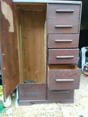 Antiique Wooden Wardrobe W/6 Drawers And Cedar lined Closet