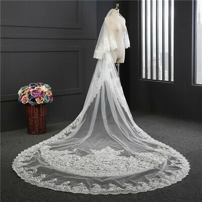 aeb4e36b1dd4 Luxury White Ivory 2 Layers Wedding Bridal Veils Lace Edge With Comb  Cathedral