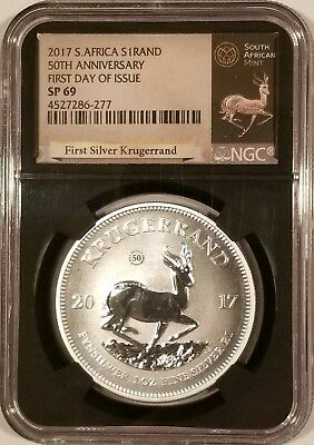 2017 South Africa Krugerrand 1 oz .999 Fine Silver NGC SP69 - First Day of Issue