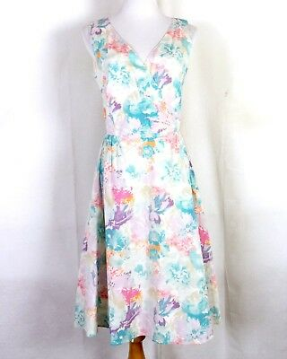 3f79c2669 euc Liz Claiborne New York Colorful Floral Sleeveless Summer A-Line Dress  sz 8