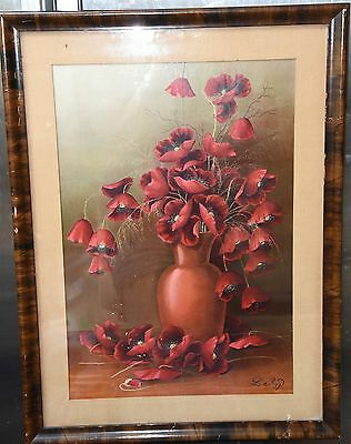 Antique Victorian Henri Le Roy Red Poppy Flower Print Chromolithograph Org.frame