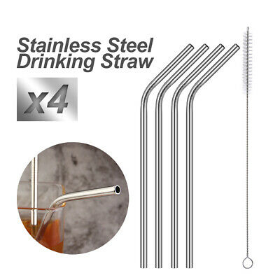 Stainless Steel Metal Drinking Straws Bent Reusable Washable + Brush