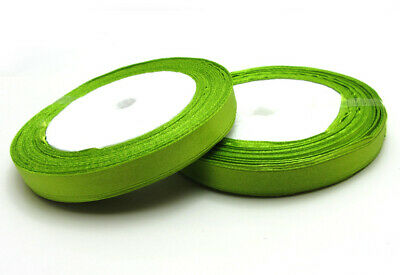 """Free shipping 3/8"""" 25Yards Solid color Satin Ribbon  For Wedding Party Green"""