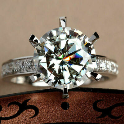 Certified 2.42Ct Round White Diamond Shared Prong Engagement Ring 14k White Gold