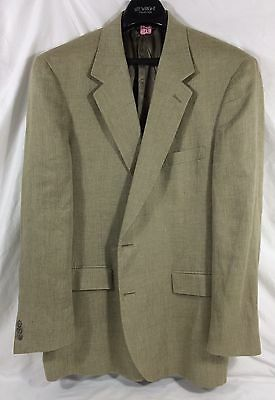 Brooks Brothers 100% LINEN Suit Coat Men 43L Khaki Classic Blazer Sport Jacket