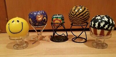 LOT OF FIVE VINTAGE UNIQUE CANDLES WITH HOLDERS / STANDS FROM 1970S & 1980's