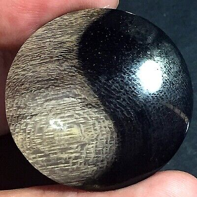 40ct Brown Black 'Yin Yang' Picture AGATE 32mm ~100% Natural Petrified Wood