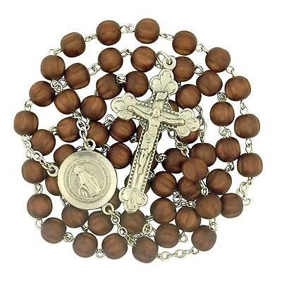 Dark Brown Wood Bead Rosary with Miraculous Medal Centerpiece, 19 Inch