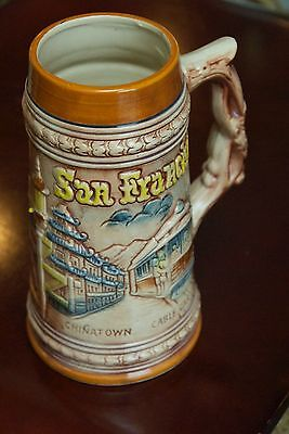 San Francisco Vintage Travel Mug Souvenir Ceramic Hand Painted Japan Nice Color