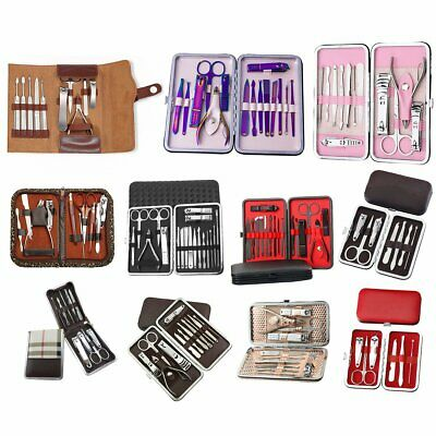18PCS Pedicure / Manicure Set Nail Clippers Cleaner Cuticle Grooming Kit Case