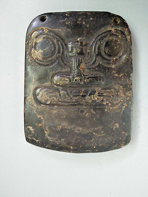 Hongshan culture Magnetic jade stone carved Person's face jade pendant E15