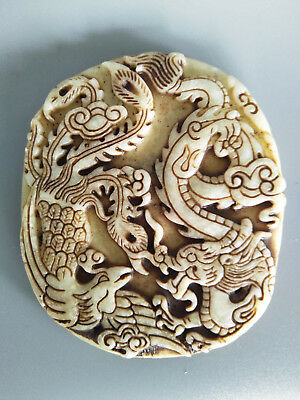 Exquisite Chinese old green jade Carved dragon/Phoenix pendant B23