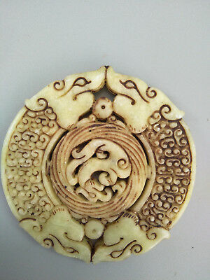 Chinese Exquisite Hand-carved old jade dragon BI  pendants Aa03