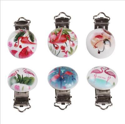 DIY 5X Flamingo Baby Pacifier Clip Soother Clasps Holders Teether Accessorie