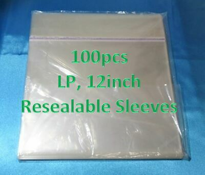 "Resealable Outer Plastic Sleeves for 12 inch LP Records 12"" vinyl 100 pieces"