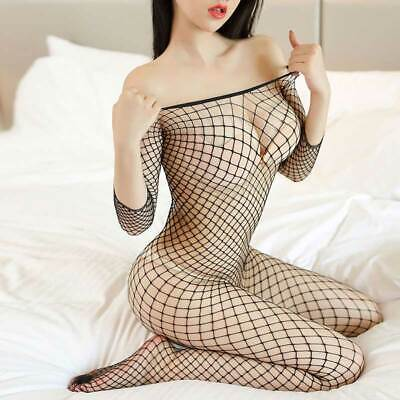 Womens Sexy Fishnet Body Stocking Lingerie Nets Clothing Open Crotch Body Suit
