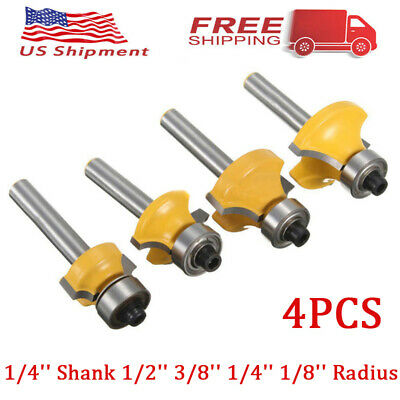 "4PCS 1/2'' 3/8'' 1/4'' 1/8'' Radius 1/4"" Shank Round Over Edging Router Bit Set"