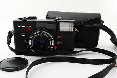 "AS IS in case"" Konica C35 EF Hexanon Point&Shoot Camera 38mm f2.8 From Japan 128"