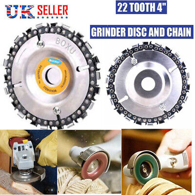 "4"" Angle Grinder Discs 22Tooth Chain Saw Blade Wood Plastic Carving 100/115mm UK"