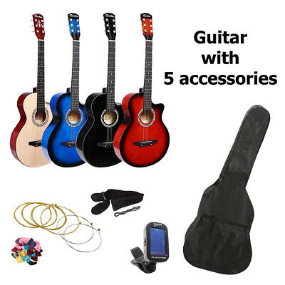 """38"""" 3/4 Size Acoustic Classic Guitar Set WITH Pick, Tuner, Strings, Strap, & Bag"""