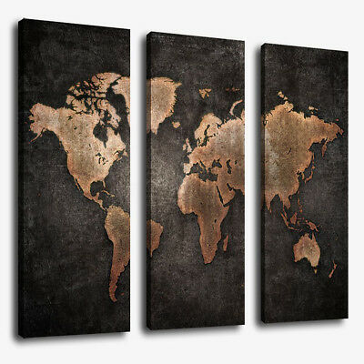 3 Panels Large World Map Modern Canvas Picture Print Wall Art Home Decor WELL