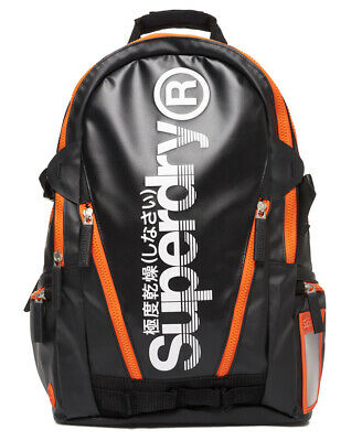 New Mens Superdry Sonic Tarp Backpack Black
